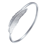 SILVERAGE 925 Sterling Silver Women Bracelet Vintage Style Adjustable Cuff Feather Bangle New Fashion Jewellery