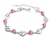findout Amethyst red pink blue white Crystal Heart Silver bracelet ,for women girls.