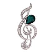 Belons Fashion Jewellery Treble Clef Music Note Drops Green Crystal Rhinestone Brooch Collar Pin for Women & Girls