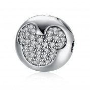 NYKKOLA 925 Sterling Silver Round Element Crystal Mickey Mouse Charm Beads fit Pandora Bracelet