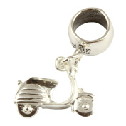 Sterling Silver Vespa Scooter Dangle Bead /Charm To Fit European Style Charm Bracelets