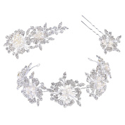 Clearine Women's Fashion Crystal Flower Leaf Cluster Simulated Pearl Headband Hair Pin Clip Set Silver-Tone
