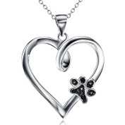 Silver Mountain 925 Sterling Silver Pet Paw Print Heart Cubic Zirconia Pendant Necklace, 46cm