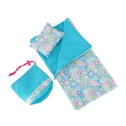 36cm Doll Accessories/Bedding | Reversible Multicoloured Geometric Flower Print Sleeping Bag Bed Set with Pillow and Drawstring Storage Bag | Fits American Girl Wellie Wishers Dolls