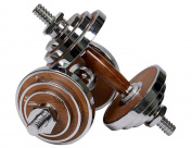 PROIRON Dumbbell Walnut-Steel Dumbbells Set 20KG Adjustable Dumbbell For Gym Office Home