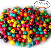 400 PCS Assorted Colour Round Wood Beads Wooden Spacer Beads for DIY Jewellery Making, 2 Sizes, 10mm and 12mm