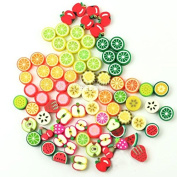 bargain house 100 Mixed Colour Fimo Polymer Clay Fruit Spacer Beads