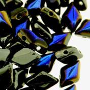 Czech Glass GemDuo Beads, 2-Hole Diamond Shaped Beads 5x8mm, 10 Grammes, Jet Black Azuro
