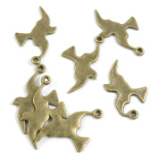 80 Pieces Repair Vintage Jewellery Making Supply Charms Findings Bronze Tone X9XB4 Peace Bird Pigeon