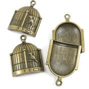 120 Pieces Pendentif Schmuckteile Jewellery Making Supply Charms Findings Bronze Tone W5SG2 Bird Birdcage