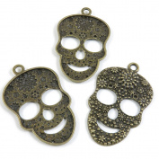 5 Pieces Pendant Vintage Jewellery Making Supply Charms Findings Bronze Tone U2KU1 Flower Skull