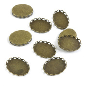 100 Pieces Vintage Jewellery Making Supply Charms Findings Bronze Tone Y2VC3 Cabochon Frame Blanks 14x10MM