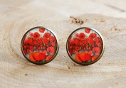 Poppy stud Earring,Flower Earring, poppy jewellery, remembrance Earring, poppy jewellery