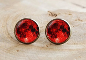 Blood Moon Earrings, Lunar Space Earrings, Red Moon Lunar Eclipse Earring