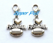 I love football Zipper Pull, Perfect for Necklaces, Bracelets , keychain and earrings Charm I love football planner charm handmade Jewellery