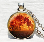 Full Moon Necklace, Moon Pendant ,Space Orange Yellow Red Moon Jewellery ,Necklace, for men Art Gifts for Her