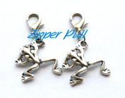 Silver frog charm, frog bracelet charm, frog zipper pull, purse charm,Zipper Pull, Perfect for Necklaces, Bracelets , keychain and earrings Charm