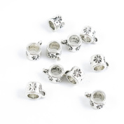 Qty 50 Pieces Silver Tone Jewellery Making Charms Filigrees M2AC8 Flower Bead Bail Cord Ends