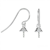 1 Pair Sterling Silver French Hook Earring Ear Wire with 5mm Pearl Cup