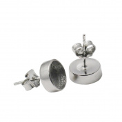 925 sterling silver earring stud 8mm round bezel setting with earring back for jewellery making