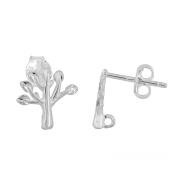 1 Pair Sterling Silver Tree Stud Post Push Back Earrings Connector