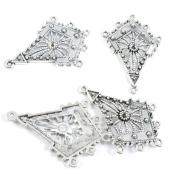 Qty 40 Pieces Tone Jewellery Making Charms Filigrees U2FL5 Rhombus Ear Drop Connector End Bars