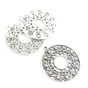 Qty 10 Pieces Antique Silver Tone Jewellery Making Supply Charms Findings D3HC1 Flower Ear Drop