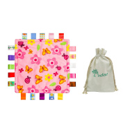 Inchant Baby Gift Set, Colourful Taggies Pink Flowers Security Blanket Comforter and Cotton Gift Bag