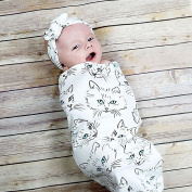 Baby Swaddle Blanket,Infant Newborn Sleeping Bag Muslin Wrap with Headband