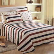100% pure cotton summer thin bed sheets brown blue white stripes modern simple style 180 * 230 cm
