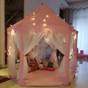 Princess Castle Play Tent With Light - 140cm x 130cm (DxH),UniqueVC Kids Playhouse for Childs Toddlers Gift/Presents,Balls and Blanket Not Included