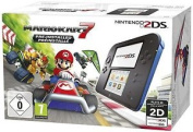 2ds Black And Blue Console Inc Pre Installed Mario Kart 7 - & Sealed