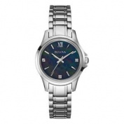 Bulova 96p153 Ladies Diamonds Black Silver Watch