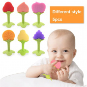 5 PCS Baby Teething Toys , Soft Fruit Teething Toys Set For Toddlers & Infants, Baby Teeth Stick by Bagvhandbagro [Random Pattern]