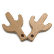 Amyster 2pcs Handmade Wooden Organic Safe Baby Teether Cactus Pendent Organic Natural Beech Wooden Toy Hand Cut Animal DIY Baby Teether Nursing Accessories