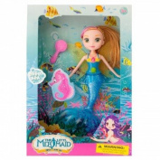 Mermaid Bath toys for girls, and toddlers. Cute Little Mermaid Doll with Hairbrush, Fairy Wings, and Mermaid Tail for Swimming in the Bath Tub– Colours May Vary