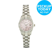 Sekonda Ladies Pink Sunray Dial Stone Set Watch -from The Argos Shop On