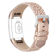 For Fitbit Charge 2 Strap Leather Band, Adjustable Replacement Sport Straps For
