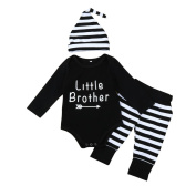 3 - 18 Months Odeer 2017 Autumn Fashion Toddler Infant Baby Boys Letter Romper Tops+Stripe Pants+Hat Outfit Cotton O-neck Clothes Set