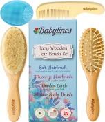 BabyLinos 4 Piece Wooden Baby Hair Brush Set with comb and Ultra Soft Silicone Scalp Shampoo Brush for Newborns and Toddlers, Natural Goat Bristles for Cradle Cap, Perfect for Baby Registry