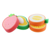 DLonline 4PCS The loveliest bath sponge,Four fresh fruit,Hami melon, strawberry,orange, mango,Bath liquid is very easy to cause foam,Soft and Does not damage the baby's skin,Very relaxed and clean.