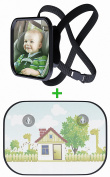 Baby Car Mirror With Bonus Protective Sun Shade by Beastly Baby | Adjustable Straps, Shatterproof Glass, Great Visibility, Fully Assembled | Facilitate Travelling & Have Constant Eye Contact
