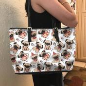 VOTANTA - Pug Love Tote Bag For Women and Girls (White)