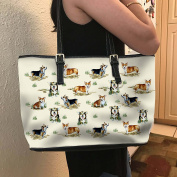 VOTANTA - Corgi Vector Tote Bag For Women and Girls (Light Yellow)