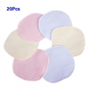 CiCy 20pcs Softest Natural Antibacterial Ecological cotton Washable Nursing Pads Reusable for Breastfeeding pads Women Eco-friendly Collects Milk Pads