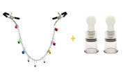 Nipple Clamps Chains with Colourful Bells and 2 Pcs Nipple Correction Cups Nipplesuckers Nipple clip Set