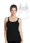 Essential Hands-Free Pump & Nurse all-in-one Nursing Tank with built in hands-free pumping bra - Black, L