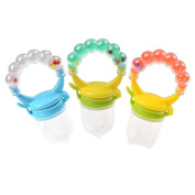 Baby Fruit And Food Feeder Pacifier (3 Pcs) - Silicone Sacs Teether Nibbler Soother for Infant Toddlers Kids Fruit Teething Toys