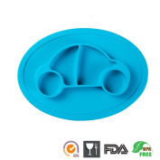 One-Piece Silicone Mini Placemat Plate-Highchair Feeding Tray Suction Placement with a ziplock bag for Children, Kids, Toddlers,Kitchen Dining Table Out Door Travel