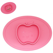 Silicone Baby Placemat Bowl-Highchair Feeding Tray Round Suction plate for Kids Toddlers Kitchen Dining Table with Built in Bowl, Weaning travel Bowl for Children 2017 NEW